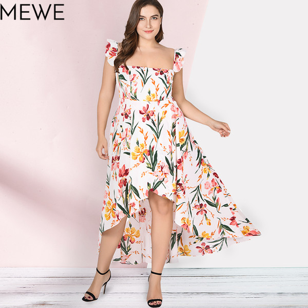 Women Summer Dress 2018 Boho Beach Long Dress Plus Size 5xl Fashion Ruffle  Maxi White Floral Dresses Ladies Casual Sundress 6xl Pretty Dresses Night  ...