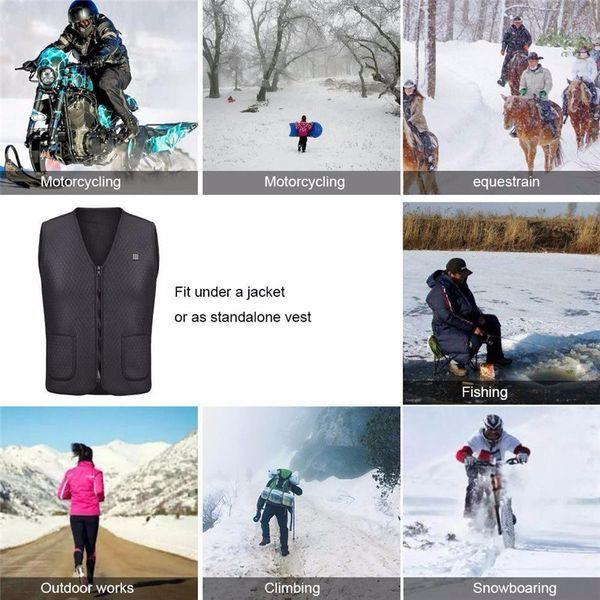 NEW Unisex Black Electric USB Heated Warm Vest Heating Coat Jacket Clothing Skiing Racing Motorcross Motorcycle Body Back Armors
