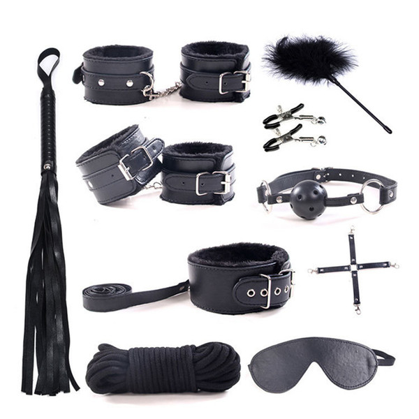 10Pcs/set Sexy Lingerie PU Leather BDSM Sex Bondage Set Hand s Foot Whip Rope Blindfold Erotic Sexo Couples Plush Toys Y1893001