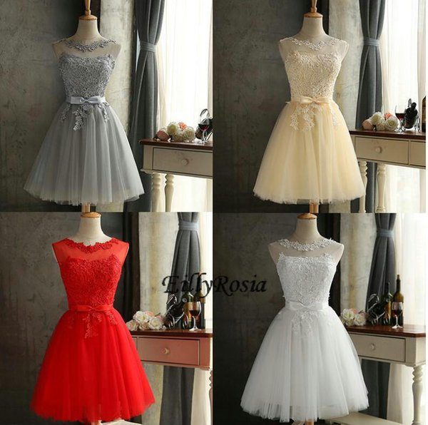 Short Homecoming Dresses for Girls Sheer Neck White Red Champagne Grey Knee Length Cheap Short Prom Dresses Party Cocktail Gowns 2018