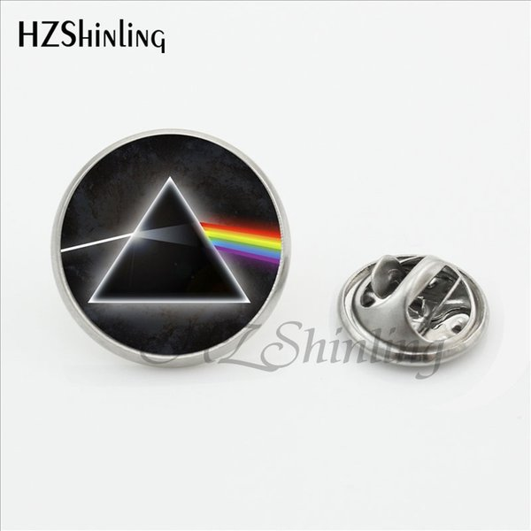 New Floyd Butterfly Clasp Pin Music Band Collar Tips Glass Photo Stainless Steel Lapel Pins Men Black Rainbow
