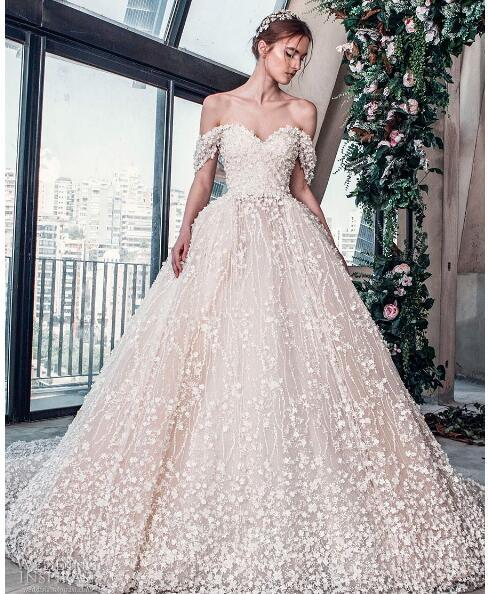 2018 luxury wedding dress high-end Gorgeous wedding dresssA line embellished with 3D flowers, silk threads, sequins, pearls and crystals.11