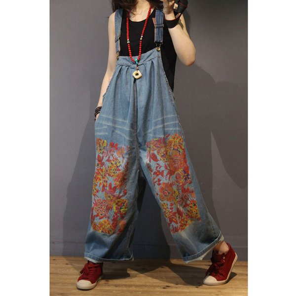 Womens Denim Jumpsuits Rompers Overalls Body for Ladies Floral Wide Leg Loose Plus Size Oversized Vintage Casual Fashion 80499