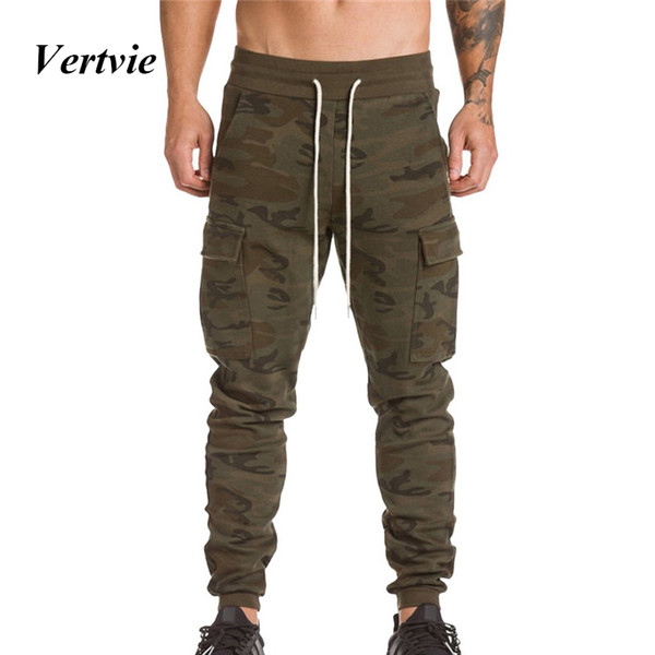 Vertvie Elastic Men Running Pants Trainning Trousers Camouflage Hiking Tactical Bottoms Professional Jogging Pant Gym Sportswear
