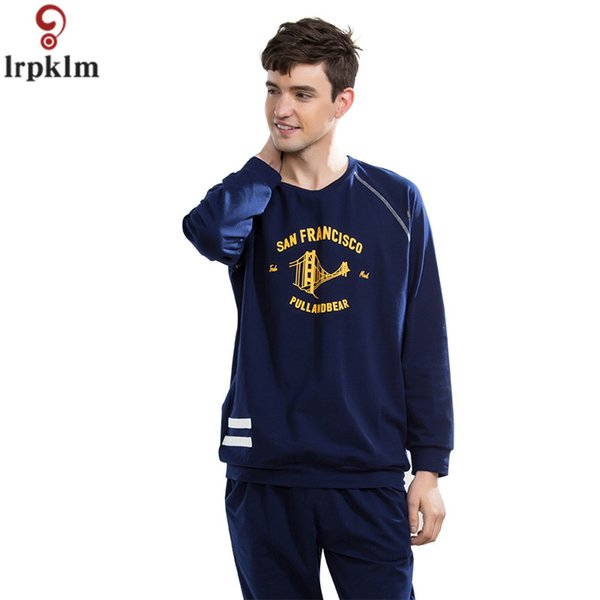 Men's Autumn Pajama Suits Cotton Clothes Long Sleeve Night Wear Clothing Men Pajamas Fall Nighty 2018 New Sleeping Suits JW303