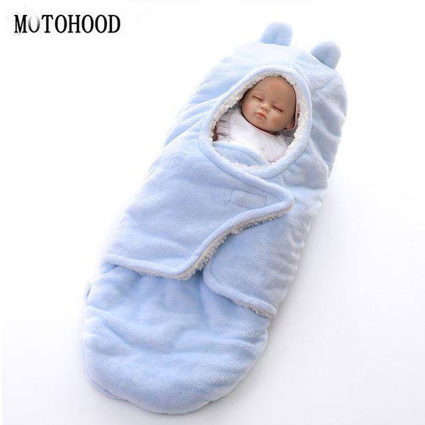 MOTOHOOD Winter Neue Babydecken Verdicken Doppelschicht Korallen Fleece Infant Swaddle Wrap Neugeborenen Baby Bettwäsche Decke 0-12 mt