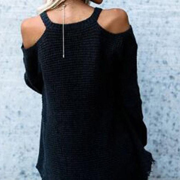 Gold Hands Cold Shoulder V-neck Tassel Knitted Irregular Sweater Women Splice Hollow Fashion Long Sleeve Sweater Lady Pullovers