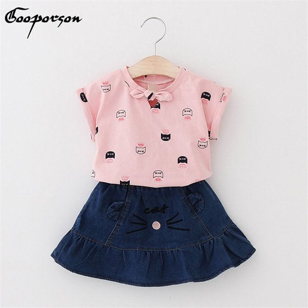 Baby girls summer clothes set new brand printing shirt with cat jean skirt for kids girl's cotton clothes lovely suit 2-7years