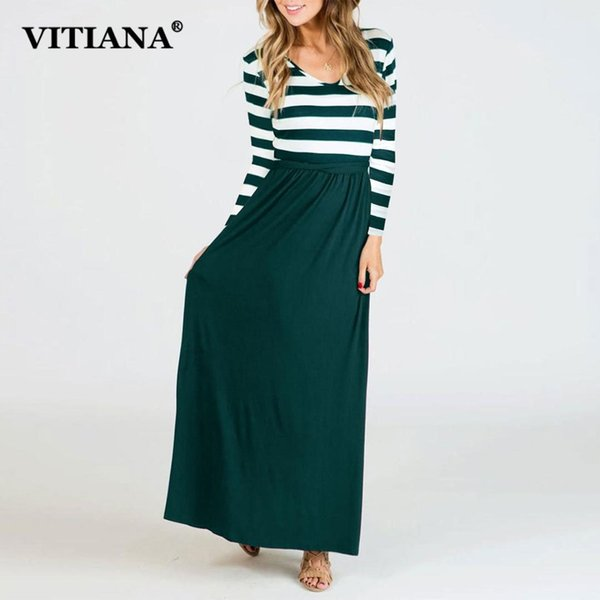 VITIANA Women Maxi Long Black And White Striped Office Work Casual Dress Female 2018 Autumn Long Sleeve Elegant Party Dresses