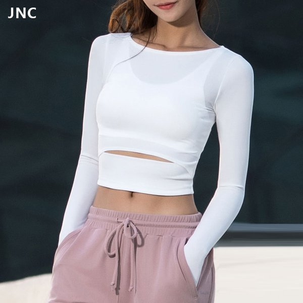JNC Women Gym White Crop Tops Yoga T-Shirts Long Sleeve Workout Tops Fitness Running Sport T-Shirts Training Yoga Sportswear