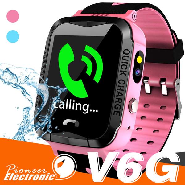 V6G Kids Smart Watch Ip67 Rastreador de GPS a prueba de agua SOS Llamada de seguimiento de la cámara de alarma de posicionamiento móvil Relojes inteligentes para Kid Child