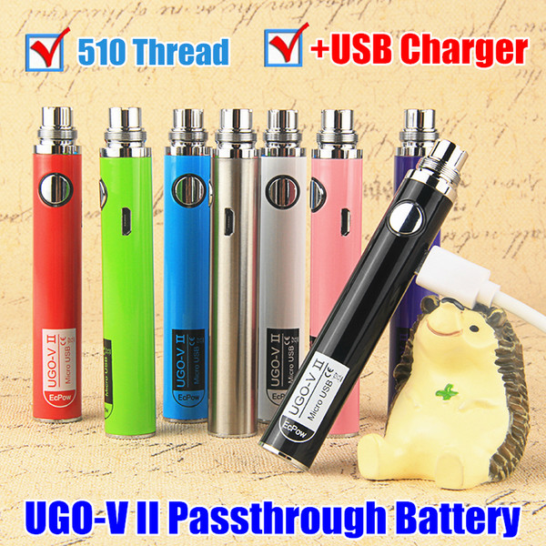 100% Original UGO V II 650 900 mAh EVOD eGo T 510 Thread Vape Pen Battery Micro USB Passthrough Vape batteries & Charger e cigs vaporizers
