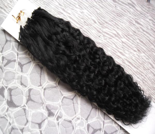 Brésilien crépus bouclés 1g / brin Micro Link Extensions de cheveux humains 100g Micro Extensions de cheveux de perles 100g Micro Boucle Anneau Extension de Cheveux