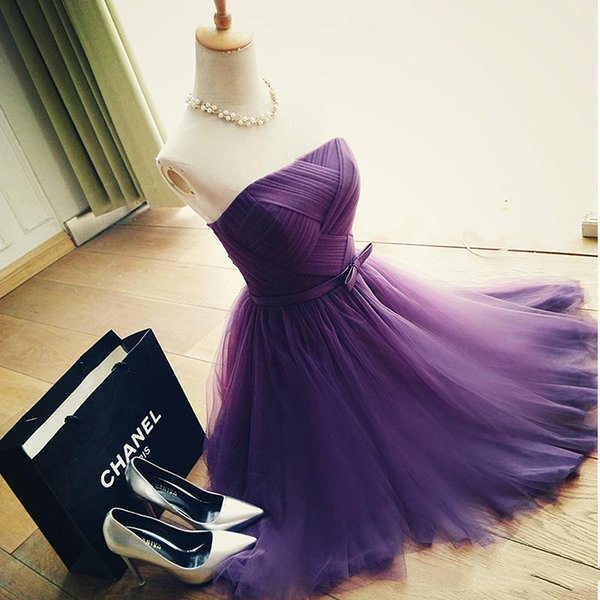 best selling Real Sample Purple tulle new Fashionable sexy short party dresses 2018 custom made prom dresses simple lace up cocktail dress party wear