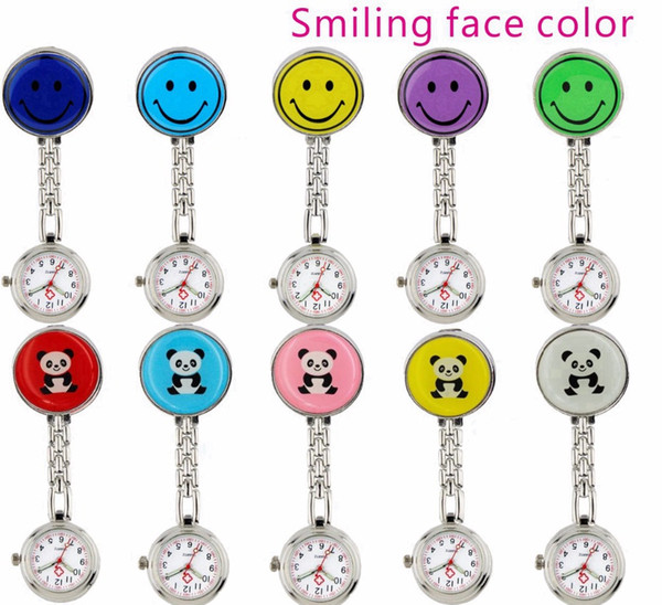 Fashion smile panda face nurse pocket watches unisex ladies women Medical Doctor clip Useful personal FOB watches