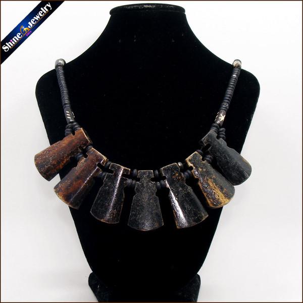 Vintage Bijoux Tribal Naturel Yak Os Sculptant Totem Perlé Strand Ras Du Cou Chunky Déclaration Bib Collier pour Femmes Hommes