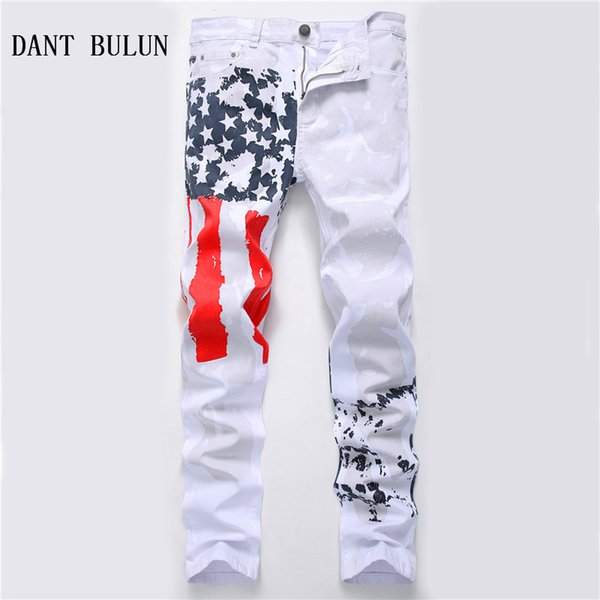 DANT BULUN 2018 New Fashion Mens American USA Flag Printed Jeans Straight Slim Fit Plus Size 40 42 Casual White Trousers