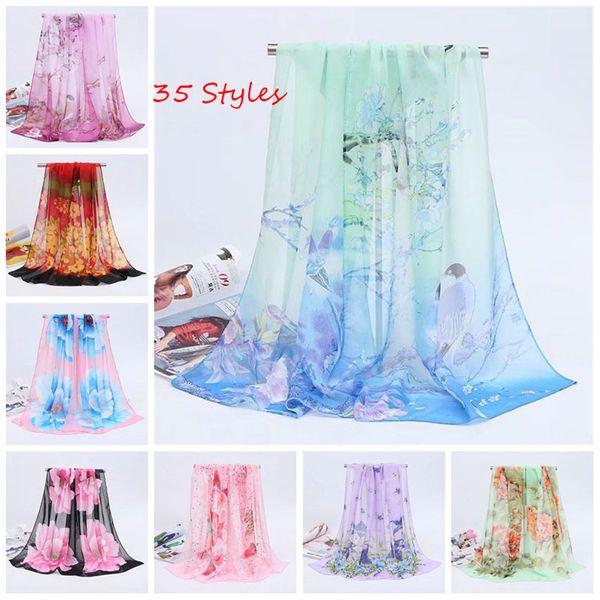 35 Styles Cheap 160X50cm New Women's Fashion Georgette Long Wrap Shawl Beach Silk Scarf Scarves Fashion Accessories