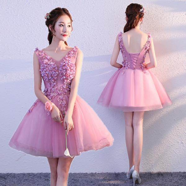 Compre Para Quinceañera Violeta Vestidos De 15 Años Corto Con Flores Vestidos De Fiesta Prom Eveing Prom Vestidos Fiesta Vestido Graduación A 7538