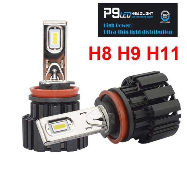 1 Set H8 H9 H11 H16 (JP) 100W 13600LM P9 LED Faro da 2,5 mm Ultra Sottile Nessun chip FLIP cieco Fan Potenza Bianco 6000 K Lampadine per auto 50W 6800LM
