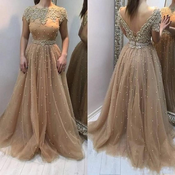 2019 New Champagne Evening Dresses Wear Short Sleeves Deep V Back Tulle Beaded Pearls Arabic Floor Length Plus Size Prom Dress Party Gowns