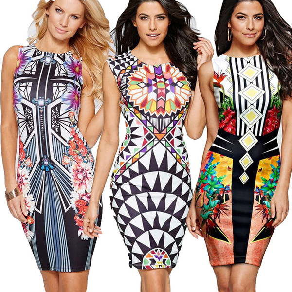 2018 Women Summer New Geometric Printed Sleeveless MiNi Dresses Sexy Slim O-Neck Empire Party Dress Fashion Pencil Vestidos