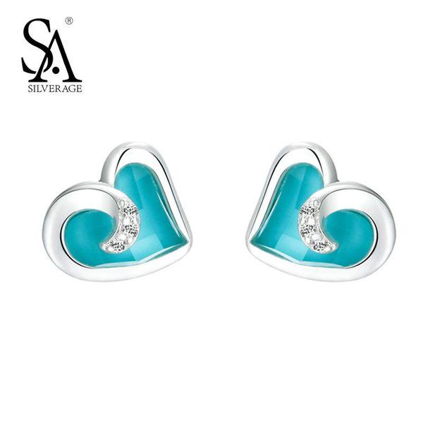 100% 925 Sterling Silver Turquoise Hearts Stud Earrings for Women Engagement Romance Witness Love Jewelry Earrings S18101206