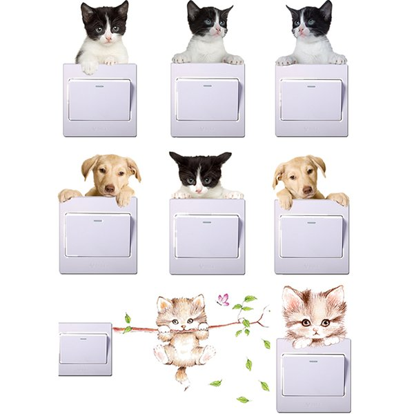 cute cat dog light switch wall stickers for kids rooms parlor home decor 3d vivid effect animals wall decals diy pvc mural art