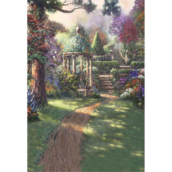Oil Painting Garden Scenic Backdrops for Photography Printed Trees Stairs Pavilion Children Girls Birthday Party Photo Backgrounds