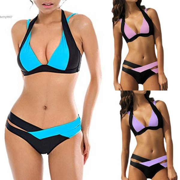 2018 Designer swimwear for women clothing Summer Sexy Swimsuit Patchwork Padded Bikini Set Bathing Beachwear 2 Pieces