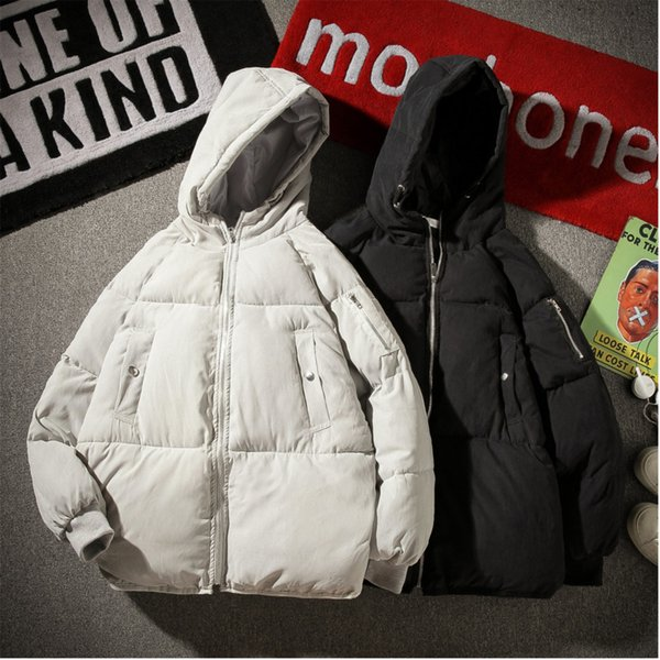 Зимняя куртка мужчины теплый толстый мода хлопок повседневная Свободные с капюшоном пальто сплошной цвет большой размер S-5XL Мужская одежда ветрозащитный пиджаки