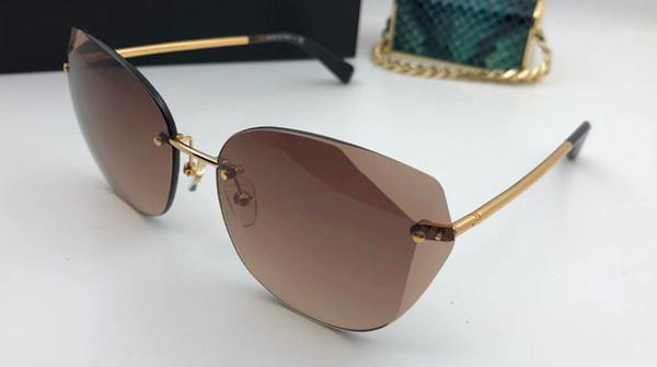 New fashion designer sunglasses 4237 irregular frameless crystal cutting lens light summer high-end decorative eyewear top quality