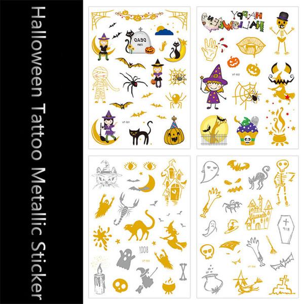 4pcs Gold Temporary Flash Metal Tattoos Sticker Cute Halloween Bat/Death/Pumpkin/Vampire Party Body Arm Art Waterproof Tattoo
