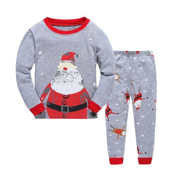 Bebek Giyim Erkek Kız Noel Noel Baba Pijama Çocuklar Sonbahar Uzun Kollu Üstleri + Baskılı Pantolon 2 adet Noel Setleri