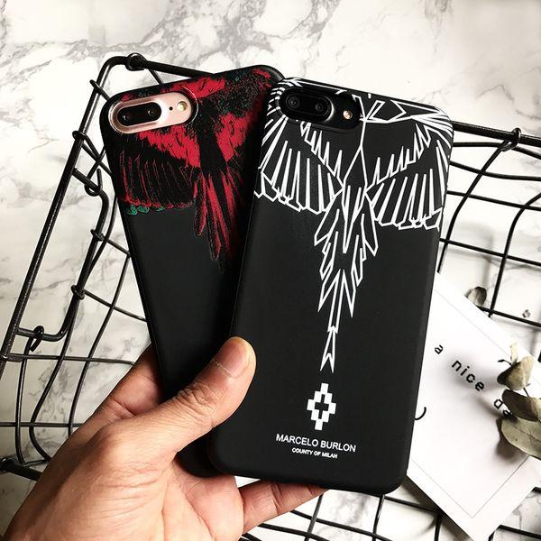 Wholesale Designer Phone Case Wing Scrub for IPhone X 6/6S 6plus/6S Plus 7/8 7plus/8plus Fashion Brand Print Phone Protection Red White