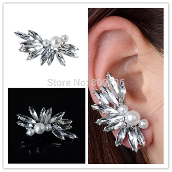1PC Punk Silver Spike Chic Pearl Crystal Leaf Flower Ear Cuff Wrap Clip Earrings Women Wedding Party Jewelry Gift Drop Free