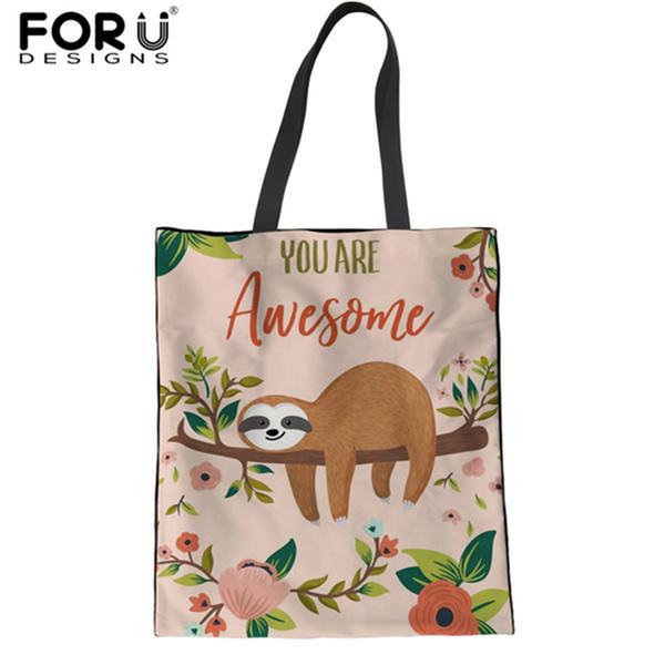 FORUDESIGNS Shopper Sacos para Mulheres Bonito Animal Preguiça Impresso Linho Feminino Tote Eco Sacos de Ombro Mãe Reutilizável grátis 2018