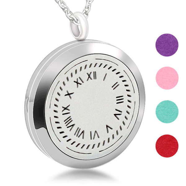 Stainless Steel Perfume Locket Clock Design Necklace Aromatherapy Locket Jewelry For Gift Magnetic Locket Essential Oil Diffuser Necklace