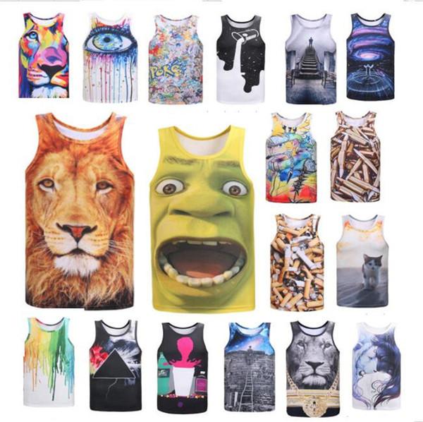 2018 Summer boys mens 3D Print Vest Colored Tiger cat printed Tank Top Vest Men Novelty O-neck t-shirts hiphop fashion street wear CUOPLE