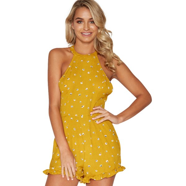 Summer Beach Playsuit 2018 Halter Sleeveless Printed Jumpsuit for Women Overalls Sexy Ruffle Backless Club Romper