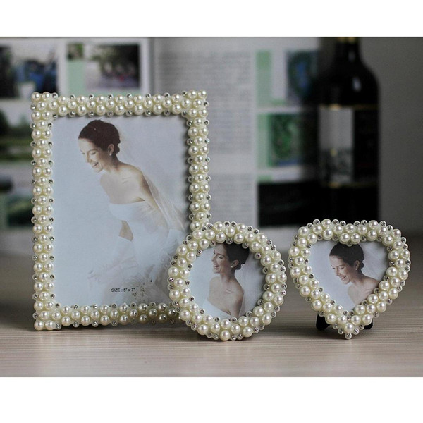 Hot Selling Newest 3 6 7 8 10 Inch ABS Frame Inlaid Pearl Wedding Photo Frame Birthday Gift Item Picture Desktop