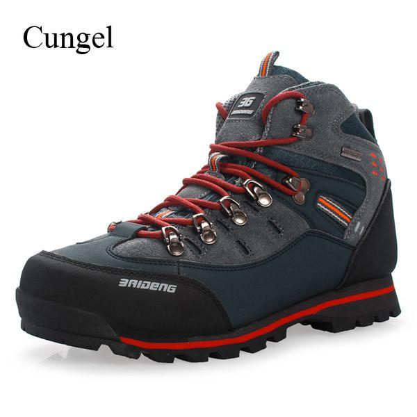 Compre Cungel Outdoor Sneakers Hombres Zapatos De Senderismo Transpirable A Prueba De Agua Botas De Cuero Zapatos Al Aire Libre Trekking Moutain