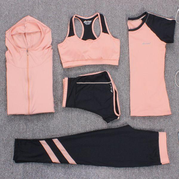 Nouveau Yoga Costumes Femmes Gym Vêtements Fitness Survêtement Survêtement De Sport Soutien-Gorge + Sport Leggings + Shorts De Yoga + Top 5 Pièce Ensemble Plus La Taille M-3XL
