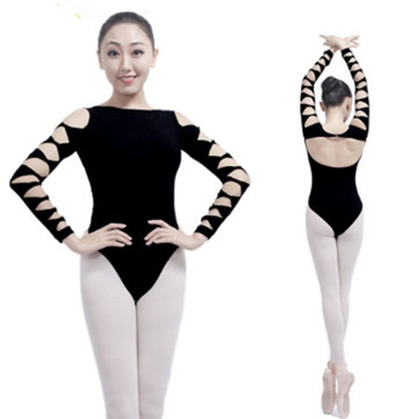 Adult Gymnastics Leotard Black Cotton Dance Leotards Long Sleeve Ballet for Women Backless Spandex Dancewear Practice