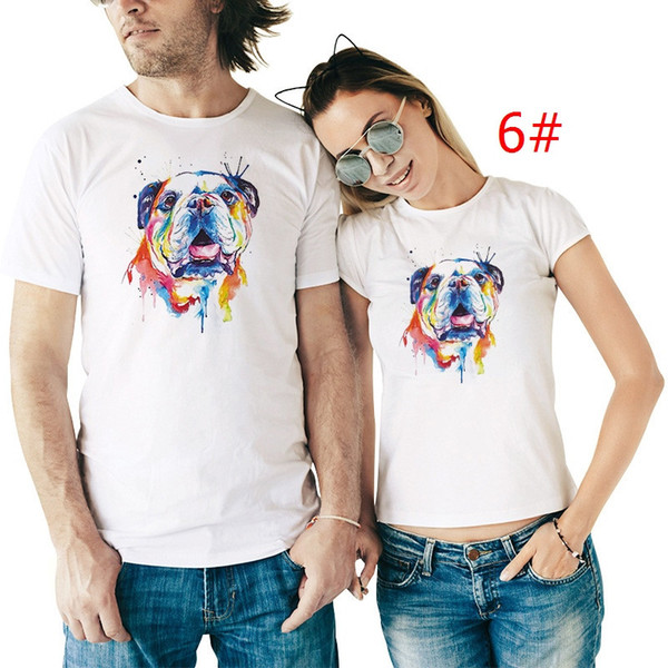9 styles Printed Animal T-shirt For Men And Women Lovers Couple Tops Tees Couple T shirts For Lovers