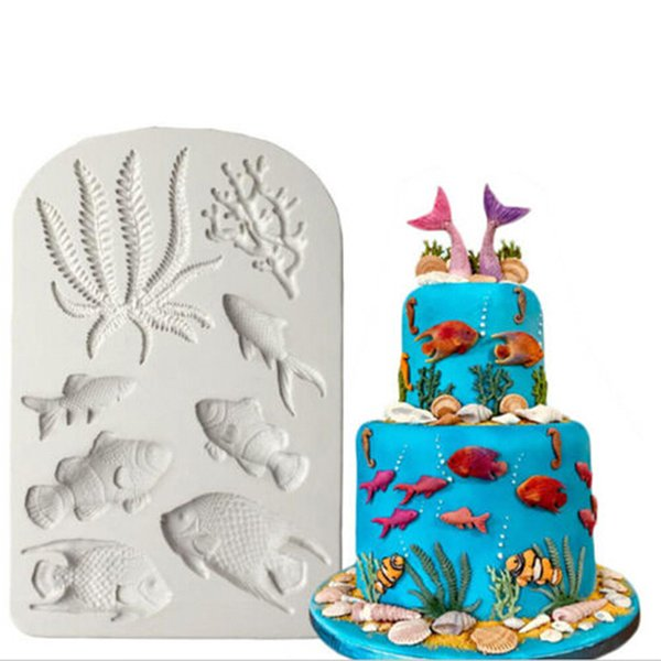 New Gray Seaweed Coral Clownfish Tropical Fish Clay Silicone Mold Fondant Mold Cake Decorating Tools Chocolate Mold free shipping