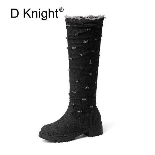 Big Size 34-52 Winter Knee High Women Boots Rubber Shoes Female Demin Side Zip Med Heel Knight Riding Boots For Woman Black Blue