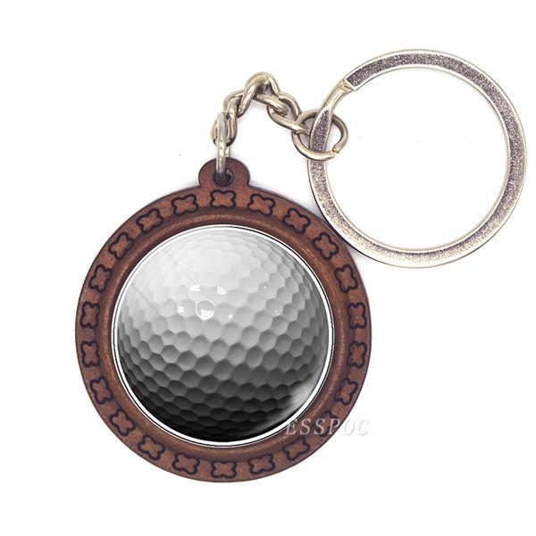 Golf Schlüsselanhänger Glas Cabochon Anhänger Handmade Holz Schlüsselanhänger Basis mit Metall Schlüsselanhänger Golf Sport Liebhaber Geschenk