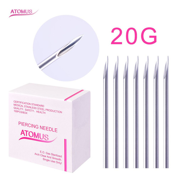 100pcs/lot 20G Piercing Needles 18G Sterile Disposable Body Piercing Needles 18G For Ear Nose Navel Nipple