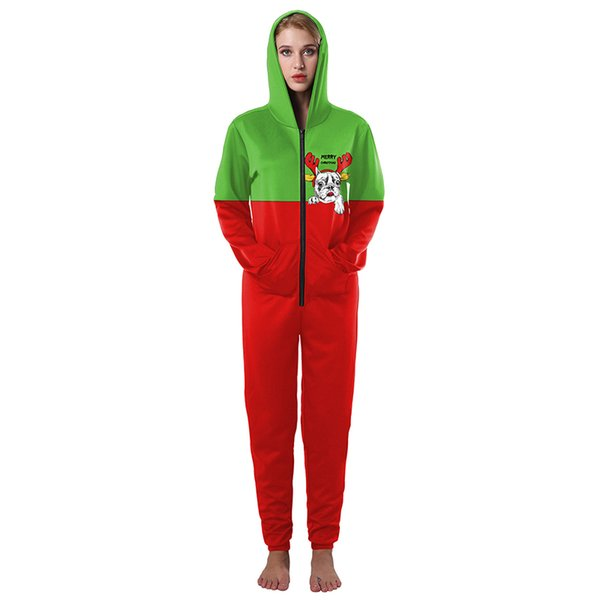Women Christmas Jumpsuit Santa Hoodies Hooded Xmas Outfit Girl Sweatshirt 3D Prited Dog Pattern Jumpsuits Red Green Color for Lovers